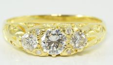 0.69 ct diamond ring in 18 kt gold ** no reserve **