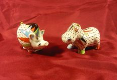 A lot of 2 Art Deco Style Hollóháza Fishnet Wild Boar and Hippo, Handpainted Porcelain Figurines
