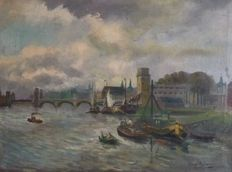 Christoffel Hendrik Dijkman ( 1879-1954) - City scape near river