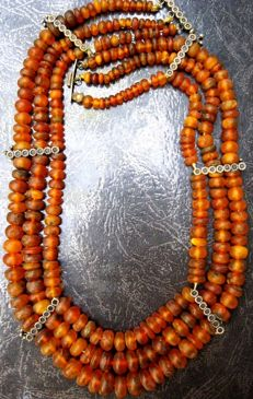 Old Baltic amber necklace, three strand with insect clasp, caramel colour, 76.06 g