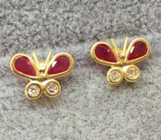 18kt Yellow Gold Red Butterfly Stud Earrings- *No Reserve*