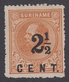 Suriname 1892 - Support issue - NVPH 21A