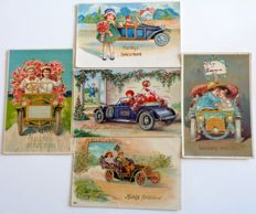 Lot of 198 varied set of children's cards -- some with relief, animals, transport, sailor, -- around 1910 and a few from 1950s