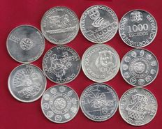 Portugal Republic - 11 Copies - 1,000 Escudos - 1994 to 2001 & 10 Euros 2003 - Silver