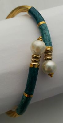 Women's bracelet in 18 kt yellow gold with semi precious stones