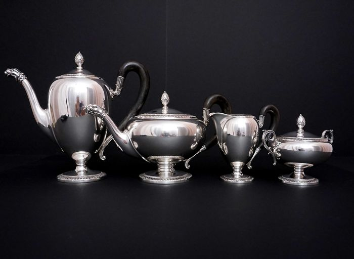Italian silver -4 piece tea & coffee set -with ebony handles, Ricci & C. S.p.A. Alexandria, 1944-1968