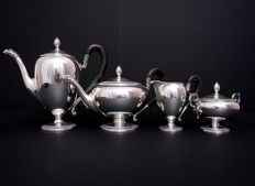 Italian silver 4 piece tea & coffee set, with wood handles, 20th century