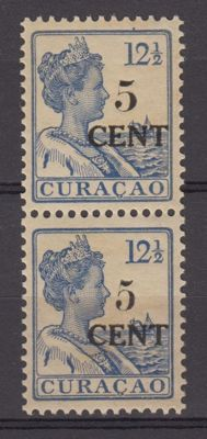 Curaçao 1918 - aid stamp type 1 and 2 attached - NVPH 74b