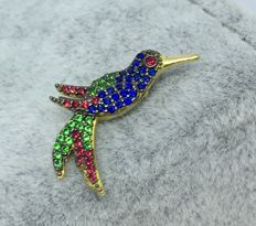 18kt Yellow Gold Massive Colourful Hummingbird Pendant-