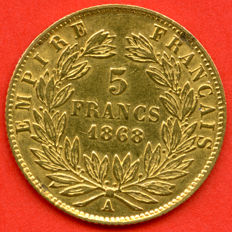France - 5 Francs 1868 A - Napoleon III - Gold
