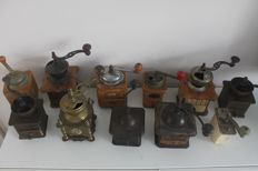 Collection of 11 antique coffee grinders