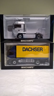 Minichamps - Scale 1/43 - Lot of 2 trucks: Mercedes-Benz Atego Dachser 1997 - First Edition of 2001 & Man TG-A Artic. Tractor 2000 - First Edition of 2002 limited to 1344 copies
