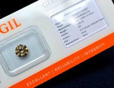 1.25 ct brilliant cut diamond natural fancy intense - yellowish-green - G/VG/VG - SI2 - NO RESERVE PRICE