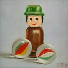 J. Eik - Still life with wooden toys, doll and marbles
