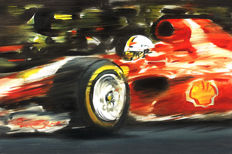 Sebastian Vettel Ferrari Formula 1 Turbo F1 ORIGINAL Oil Painting on Canvas hand-made by Artist Andrea Del Pesco + COA.