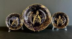 "Graf-von-Henneberg Ilmenau, real cobalt, deocor ""Birds of paradise"" 3 decorative plates"