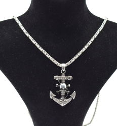 925 Italian sterling silver chain with Anchor pendant - 62 cm