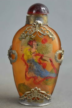 Silver and Glass snuff bottle - China, post-1940