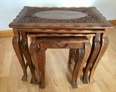 Nesting tables - Carved wood with flower motifs