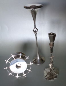 3 silver plated candlesticks by Corry Ammerlaan Niekerk
