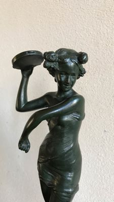 A bronze dancer on marble base in the style of Colinet - France - first half of 20th century