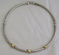 David Yurman 925 Silver & 14kt Gold Cable Choker -  15 inches