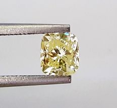 Cushion Shape - 1.02 ct - Fancy Intense Yellow- SI1 clarity - Natural Diamond Comes With AIG Certificate + Laser Inscription On Girdle