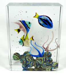 Diego Costantini (Murano) - Aquarium sculpture 3 fish