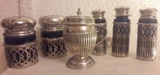 Mustard pot and salt cellars, Silver Plated Metal