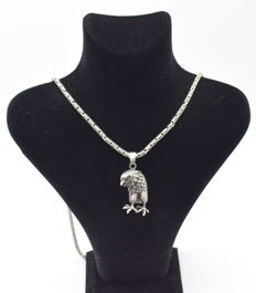 925 Italian sterling silver chain with  Eagle pendant - 62 cm