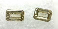 Couple of 2 Emerald cut diamonds total 1.21 ct Fancy Grayish Greenish Yellow SI2-I1  -No Reserve