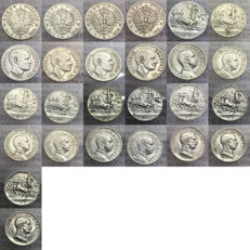 Kingdom of Italy, Lot of 13 x 1 Lira coins from 1901-1917, Vittorio Emanuele III - silver