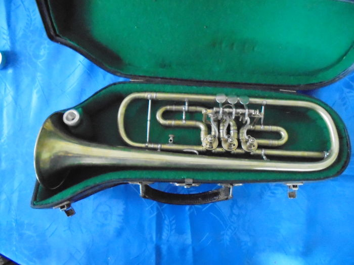 Vintage flugelhorn with rotary valves and mouthpiece, with the name ...