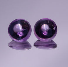 Amethyst pair - Purple - 14.16 ct total