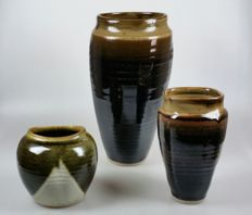 Three vases, studio ceramics