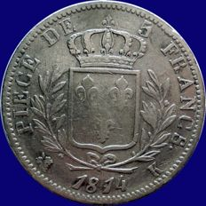 France - 5 Francs 1814 K (Bordeaux) - Louis XVIII - Argent