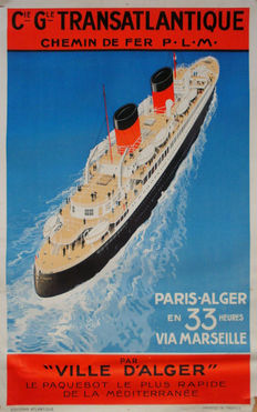 Sandy Hook - Cie Gle Transatlantique - Paris / Alger via Marseille - um 1935