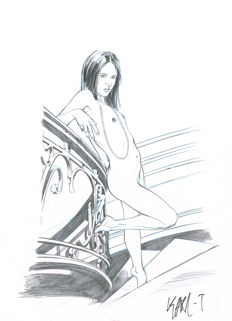 Karl T. (Tollet, Karl) - Original art - Nude woman on stairs
