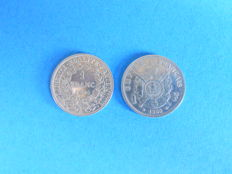 France - 1 Franc 1866-BB and 1894-A (lot of 2 coins) - silver