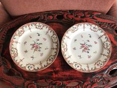 A pair of porcelain famille rose plates - China - late 18th century