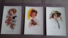Signed Art Nouveau cards ladies with hats and horse postcards by famous artists and illustrators 38 x