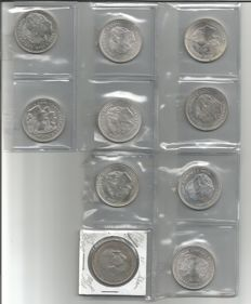 Spain - Lot of 10 Coins - Juan Carlos I and Francisco Franco - 12 Euros (9) - over 100 pesetas - 1966