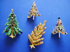 Rare and Joyous Lot of Vintage 'Christmas Tree' brooches from the 40's & 50's !