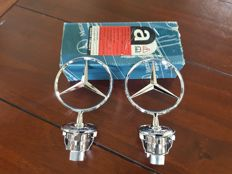 2x - Mercedes-Benz hood ornaments - height 130 mm - second half 20th century