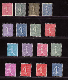 France 1903/1922 - Selection of 16 stamps of 'Semeuse' Type with lined background - between Yvert  n° 129 and 362