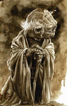 Star Wars : YODA - Original Coffee Drawing By Juapi