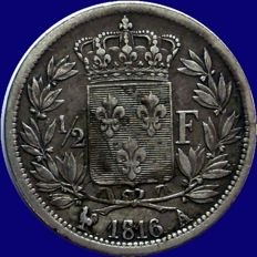 France - ½ Franc 1816 A (Paris) - Louis XVIII - Argent