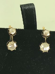 Art Deco 18k old rose cut diamonds gold earrings