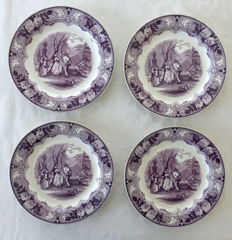 Petrus Regout - Four large antique plates - Dancing decor in purple