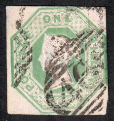 Great Britain Queen Victoria 1847 - 1sh pale green Embossed - Stanley Gibbons 54.